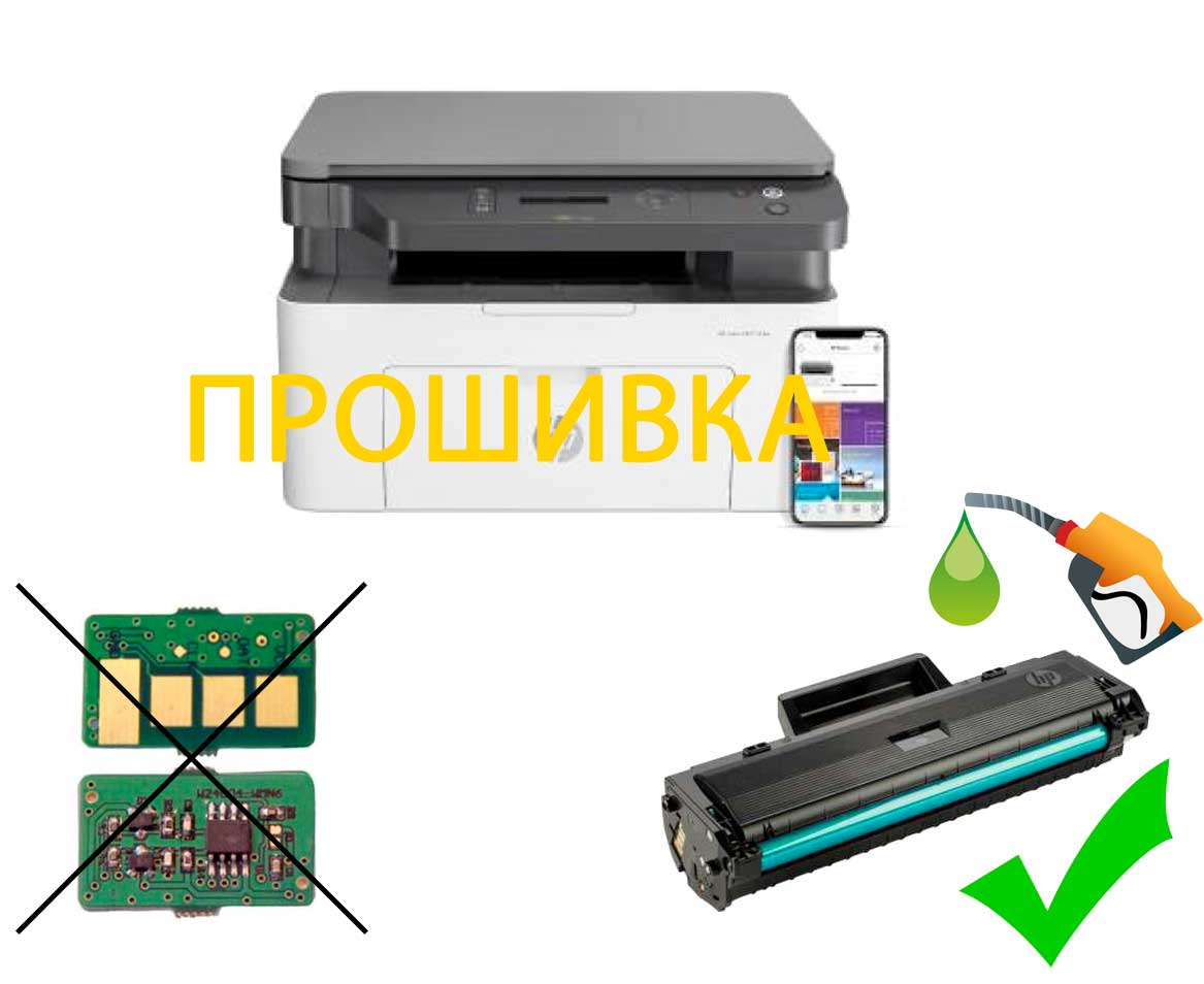 Прошивка  МФУ HP Laser 135w  для снятия блокировки по чипу