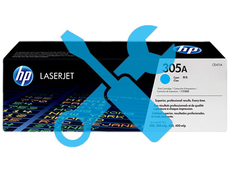 Заправка картриджа HP CE411A (305A) синий для HP LaserJet Pro 300 color M351/ Pro 400 color M451/Pro 300 color MFP M375 / M475dn с заменой чипа