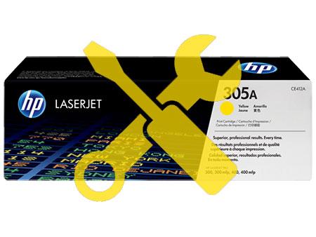 Заправка картриджа HP CE412A (305A) желтый  для HP LaserJet Pro 300 color M351/ Pro 400 color M451/Pro 300 color MFP M375 / M475dn с заменой чипа