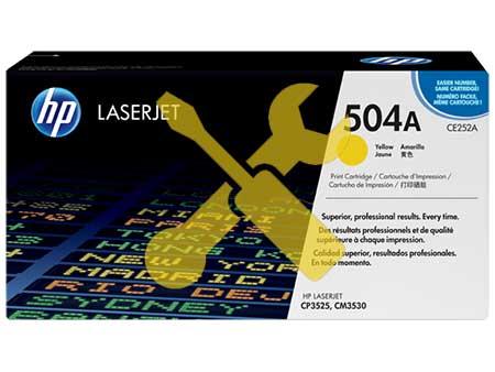 Заправка картриджа CE252A (504A) желтый для HP Color LaserJet CM3530 / CP3525 с заменой чипа