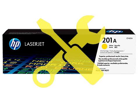 Заправка желтого картриджа 201A CF402A для HP Color LaserJet Pro M252 / M277 с заменой чипа